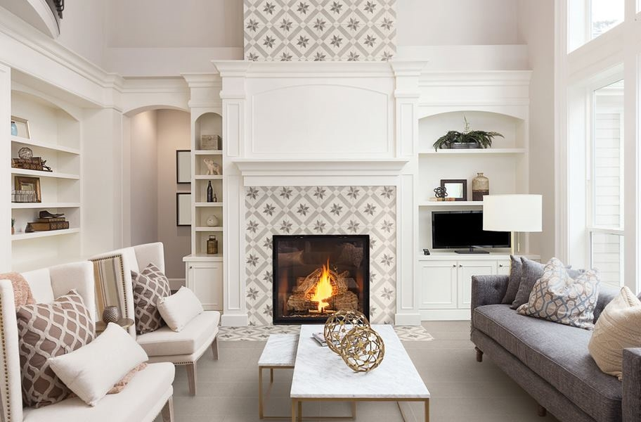 Accent Wall Ideas: stencil-look tile accent wall in a living room