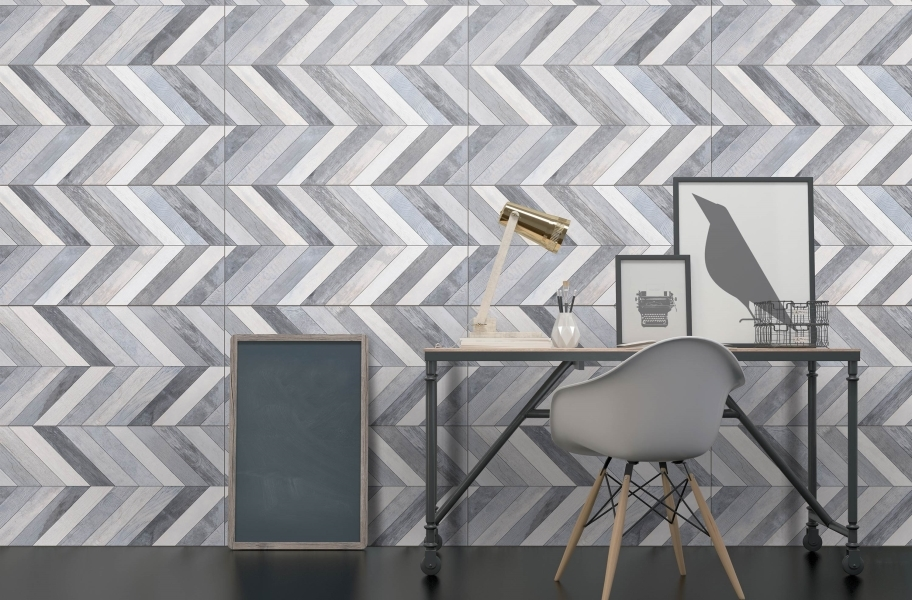 Accent Wall Ideas: chevron accent wall made from wall tile