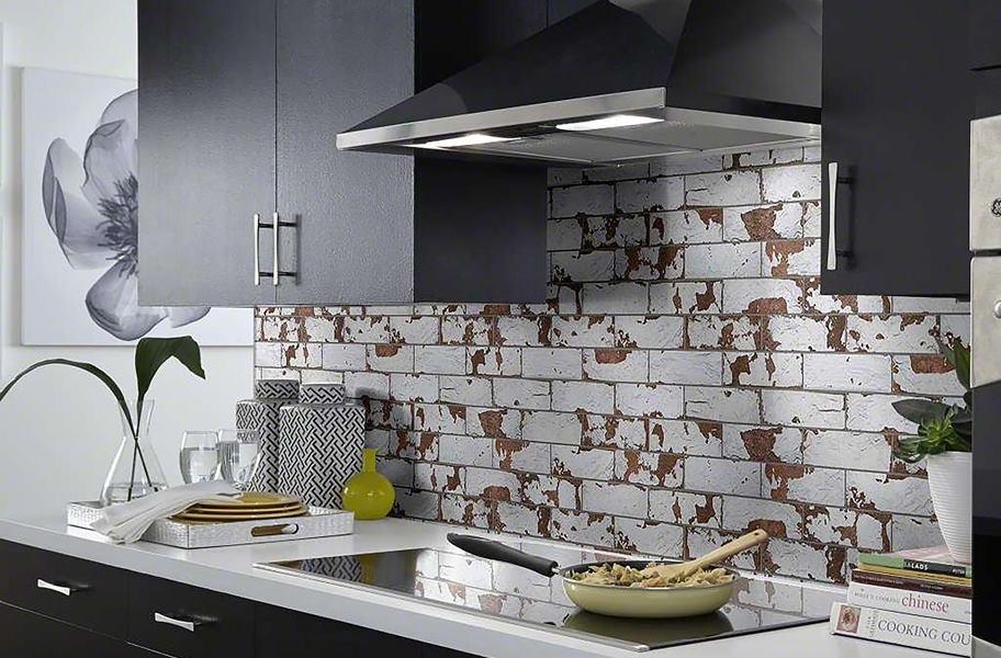 Accent Wall Ideas: brick-look tile accent wall backsplash in a kitchen