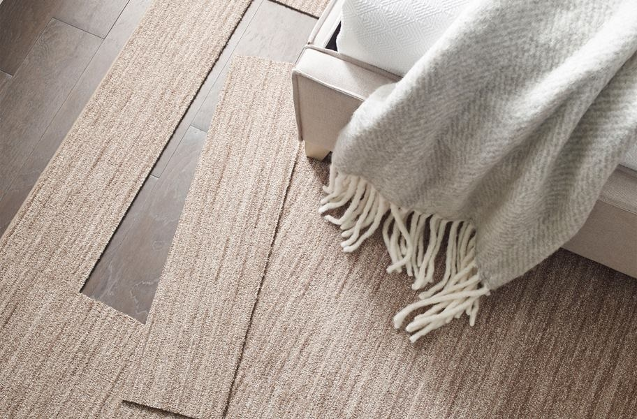Temporary Flooring for Renters: Floorigami Desert Dawn peel and stick carpet planks that can be easily installed and removed at any point and time.