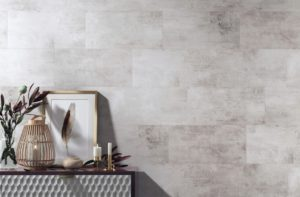 Contemporary She Shed Wall Treatment- Stone look- WallGrip Peel & Stick Vinyl Wall Tiles