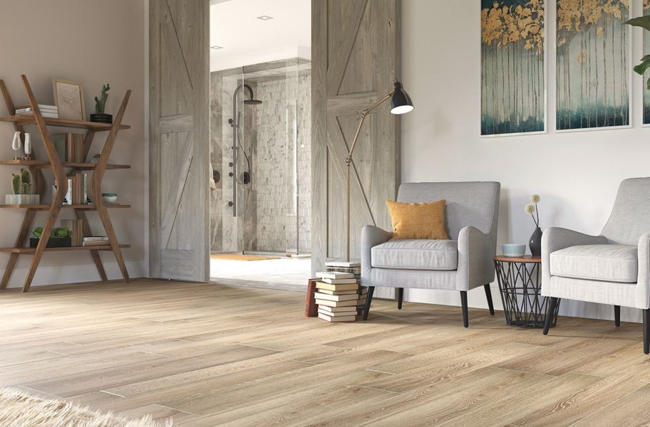 FlooringInc Tile FAQ: Wood-look tile in a bedroom setting