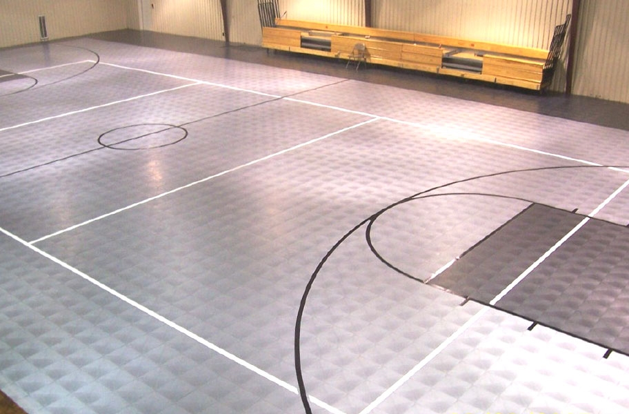 Court sports tiles in an indoor basketball court