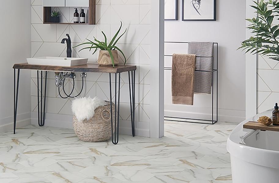 DIY Flooring Solutions: vinyl sheet flooring in a bathroom setting