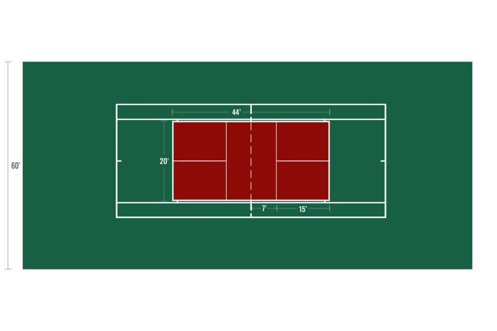 One pickleball court layout on standard size tennis court