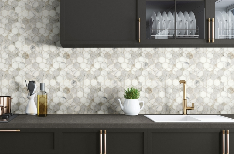Travertine tile backsplash in a kitchen