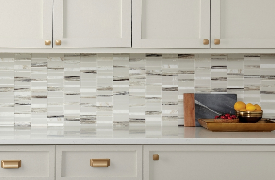 How to Install Backsplash Tile: natural stone peel and stick backsplash tile