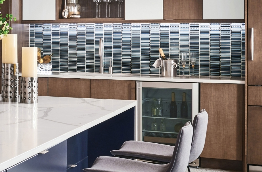 Waterfall linear backsplash tile mosaic