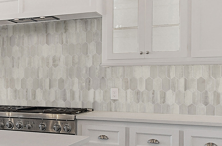 Tile backsplash trends: wood-look picket tile