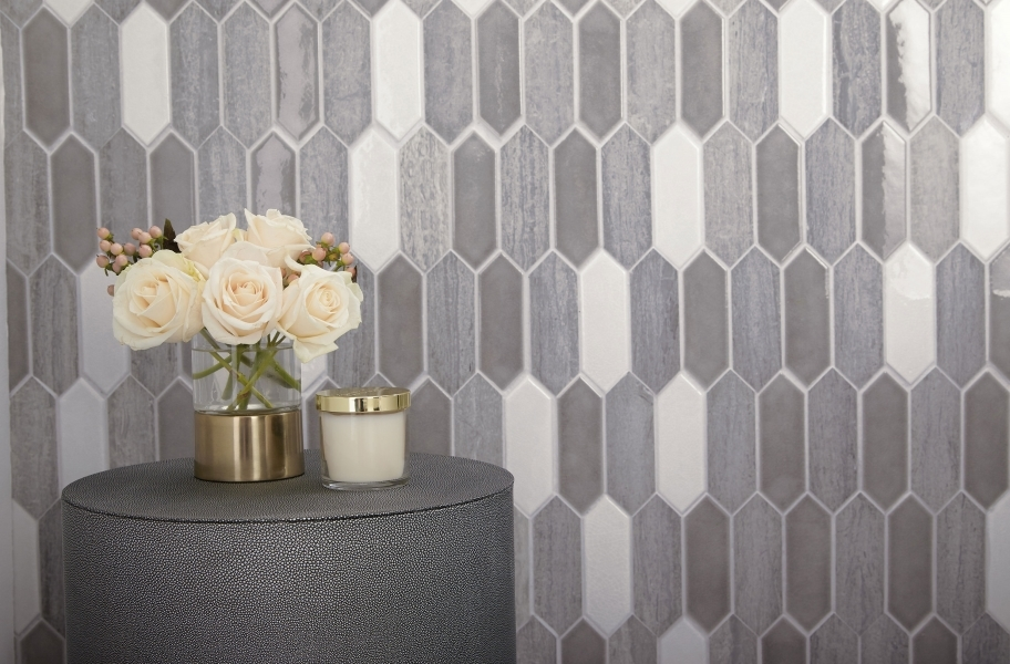 Picket shaped backsplash tile mosaic