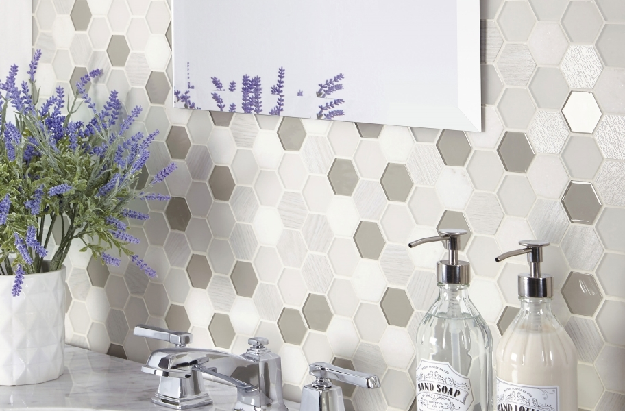 Hexagon mosaic tile backsplash