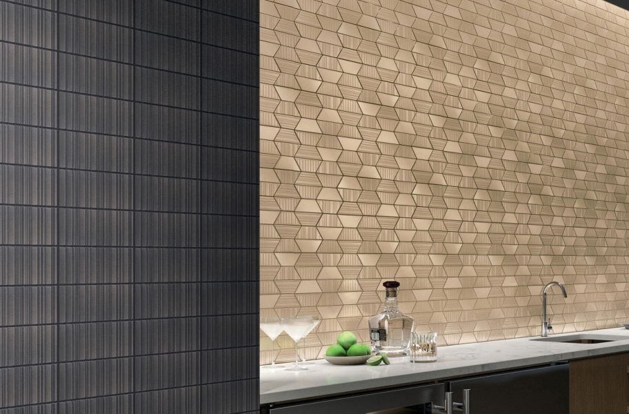 Metal-look backsplash tile in a kitchen setting