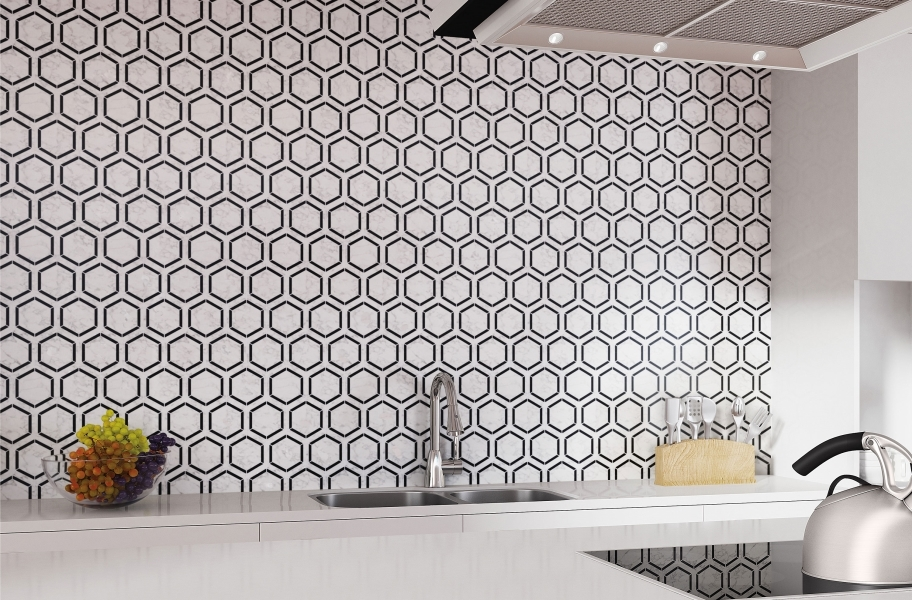 Limestone tile backsplash with modern hexagon desigh
