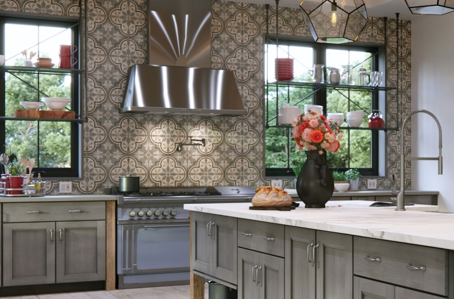 Tile backsplash trends: encaustic-look tile