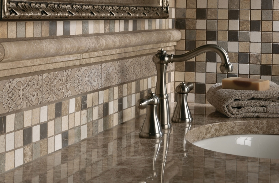 Stone-look tile backsplash mosaic in a bathroom setting