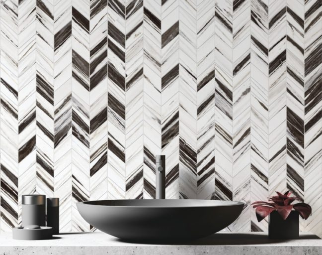Backsplash tile trends: chevron mosaic tile
