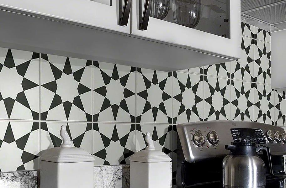 Backsplash tile trends: encaustic square tile