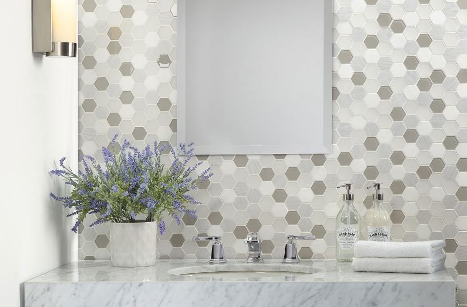 Backsplash Buying Guide: hexagon mosaic tile