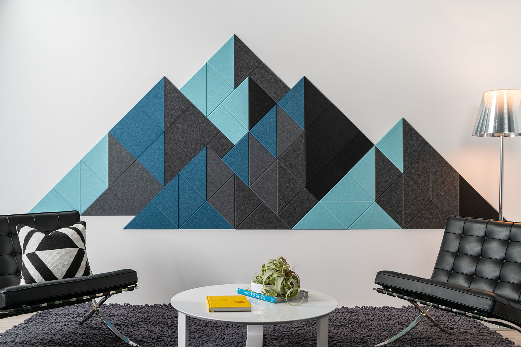 Geometric Accent Wall: Felt Right Shaded Mountain Acoustic Wall Tiles