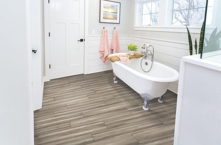 When is a vapor barrier needed? Mohawk Franklin Vinyl Planks in a bathroom setting