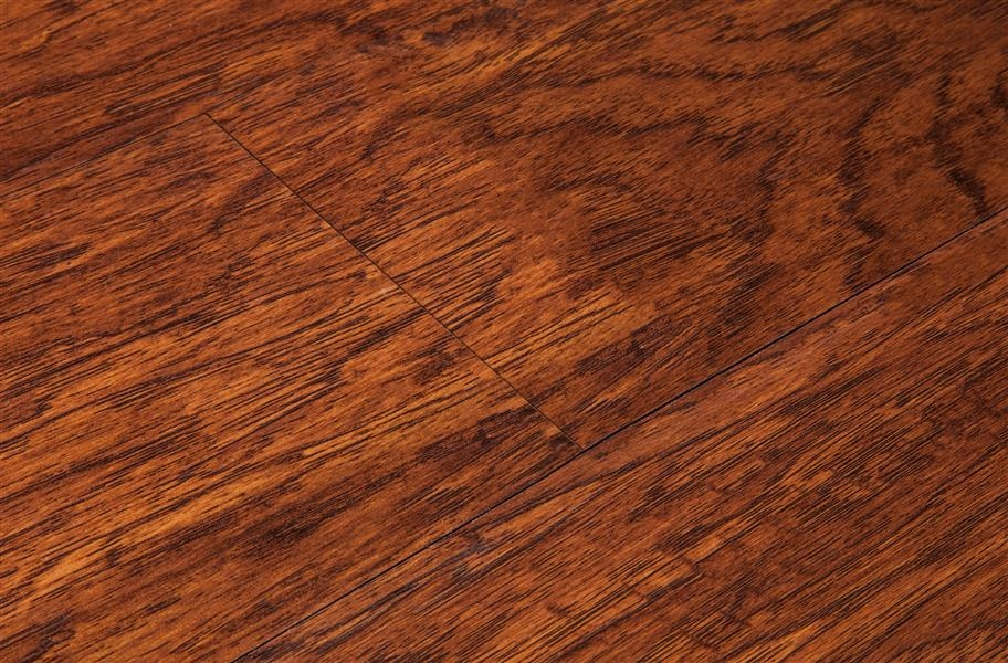 Close up distressed laminate plank