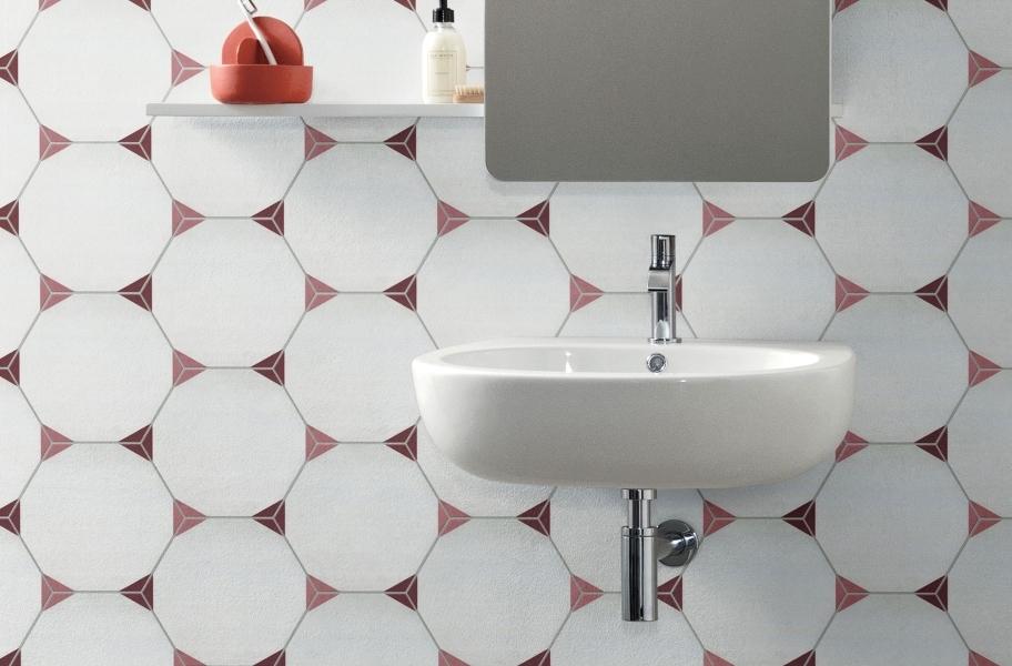 Geometric tile in a bathroom setting