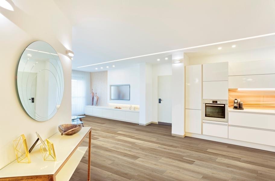 Minimal kitchen cabinet hardware: COREtec Galaxy Plus Rigid Core Vinyl Planks