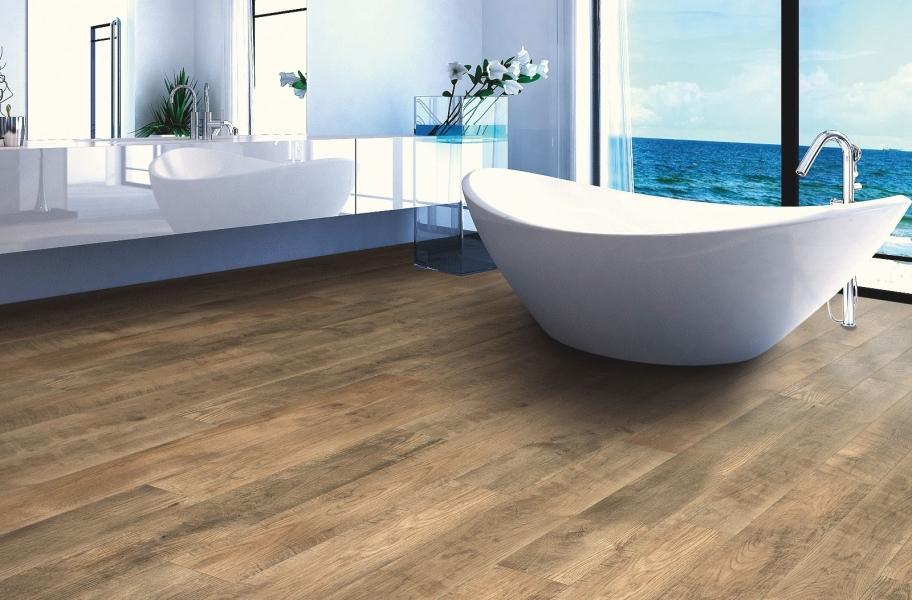Wood look bathroom flooring: 12mm Mohawk Sawmill Ridge Waterproof Laminate