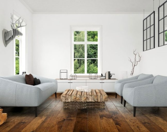 Shoreline Birch Engineered Wood in a living room setting