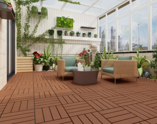 Enclosed Patio: Naturesort Deck Tiles - Terrace (4 Slat)