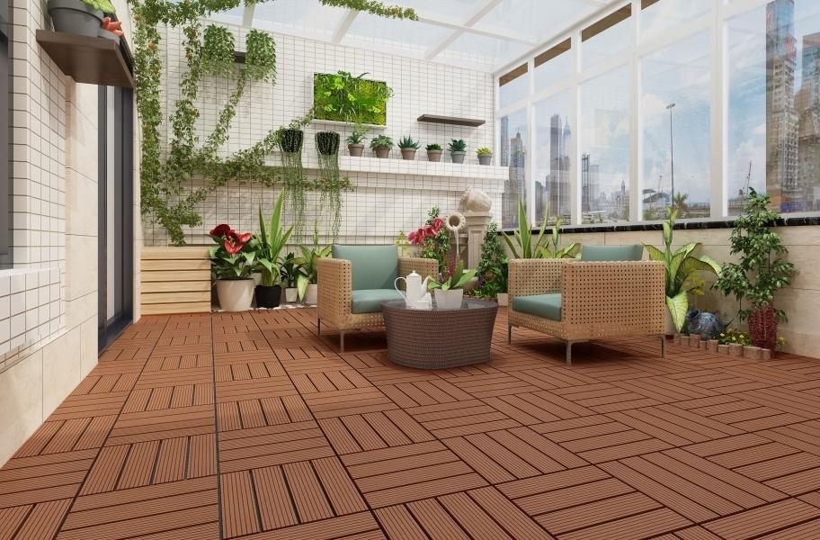 Enclosed Patio: Naturesort Deck Tiles - Terrace (4 Slat)