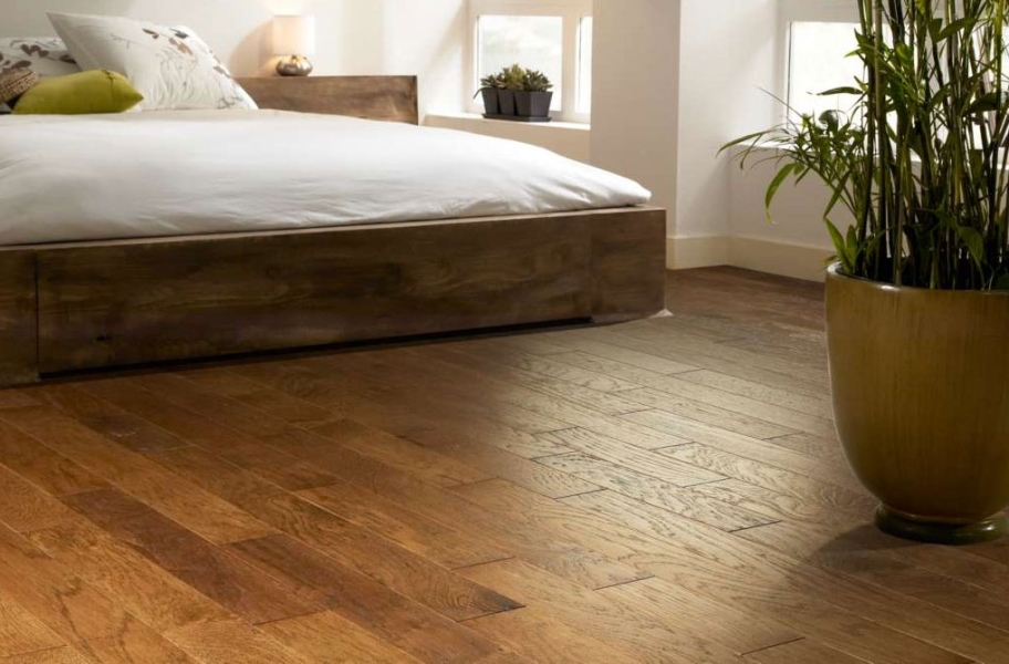 Shaw Brushed Suede Engineered Hardwood in a bedroom setting