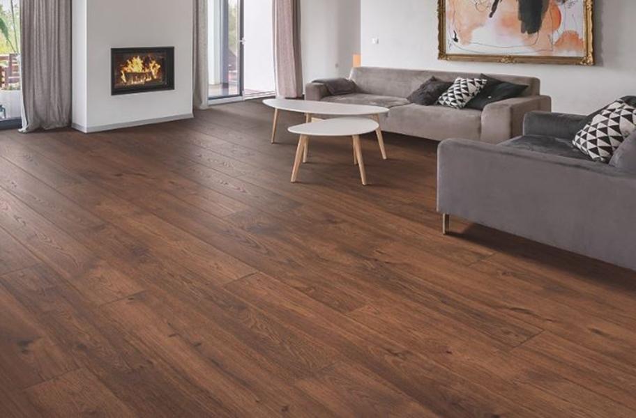 Honey Toned Wood Flooring: 12mm Mohawk Elderwood Waterproof Laminate