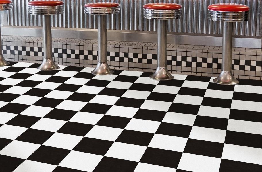 Checkered Patterned Tile Floors: Soda Shoppe Flex Tiles